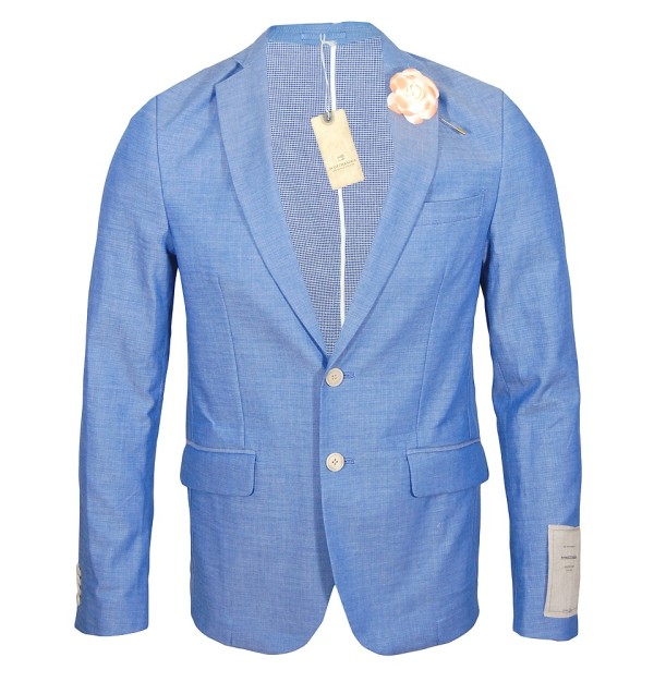 Bonded Check Stripe Blazer, Denim