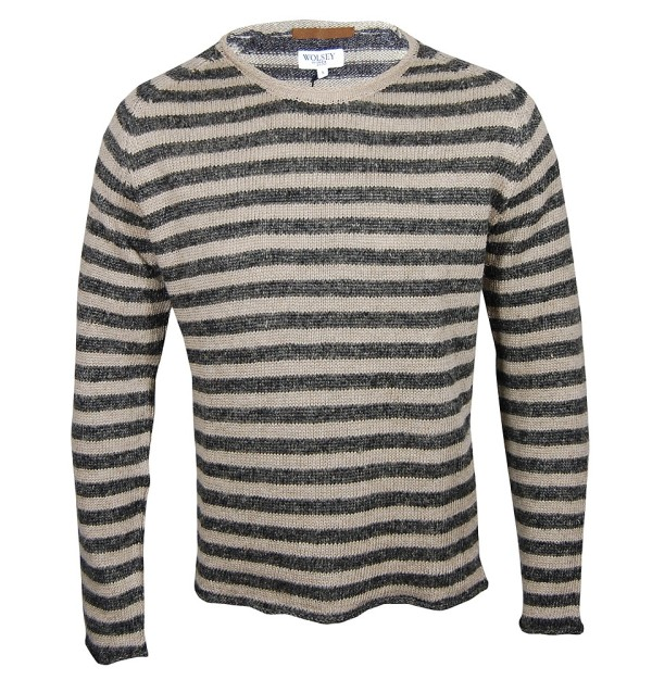 Delmar Striped Raglan Crew, Charcoal